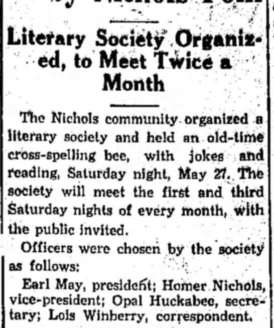 Winberry HS 12 June 1933 p2 - Literary Society Organized, Organized, to Meet...