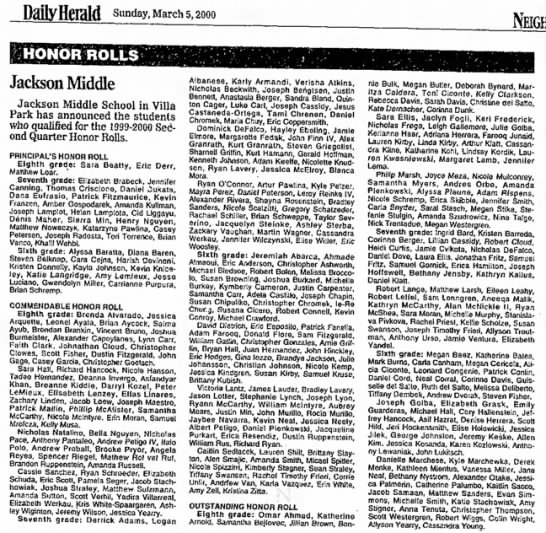 robbie - Sunday, March 5,2000 HONOR ROLLS Jackson Middle...