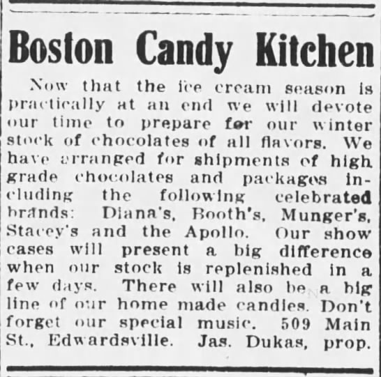 Boston Candy Kitchen 1912 - Boston Candy Kitchen Now that the ice cream...
