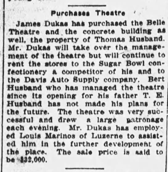 Theatre purchase 1923 - Purehas Thtr ' 'Jam Duka ha purchased th Belle...