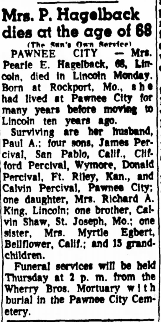 Shaw, Pearl Obituary Dec 1963 - Mrs. P. Hagelback dies at the age of 68 (The...