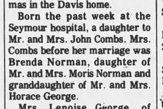 Melissa Combs. Birth announcement. - Christmas in the Davis home. Born the past week...