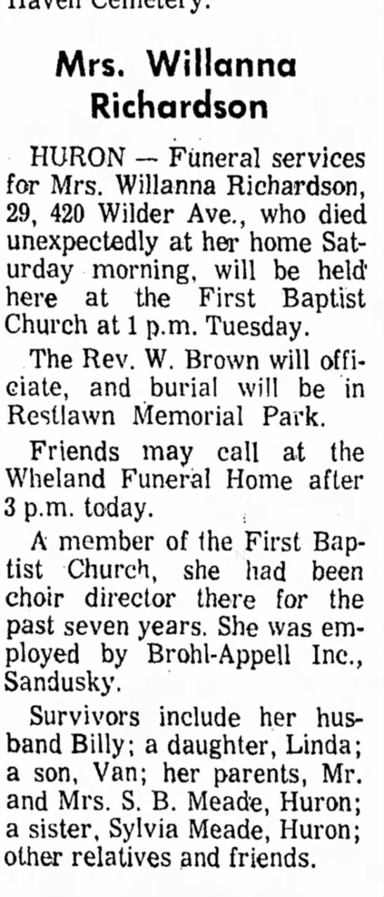 Willanna Richardson Obituary