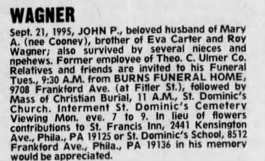 Obituary - John P. Wagner, Jr. - WAGNER Sept. 21, 1995, JOHN P., beloved husband...