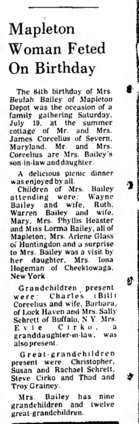 Beulah Harshbarger Bailey-84th B'day-TDN-p.10-5 Aug 1975 - Mapleton Woman Feted On Birthday The 84th...