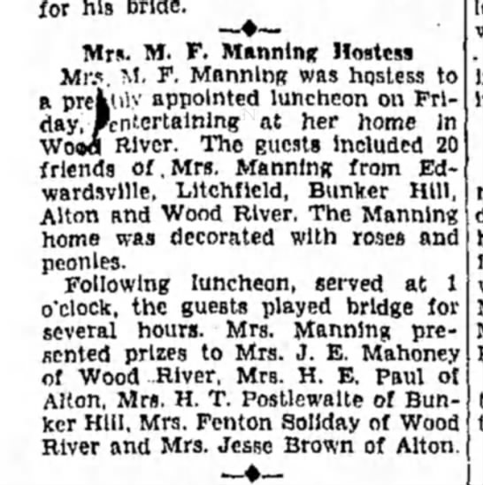 Mrs M F Manning - for his bride. Mrs. M. F. Manning Hostess Mr.',...