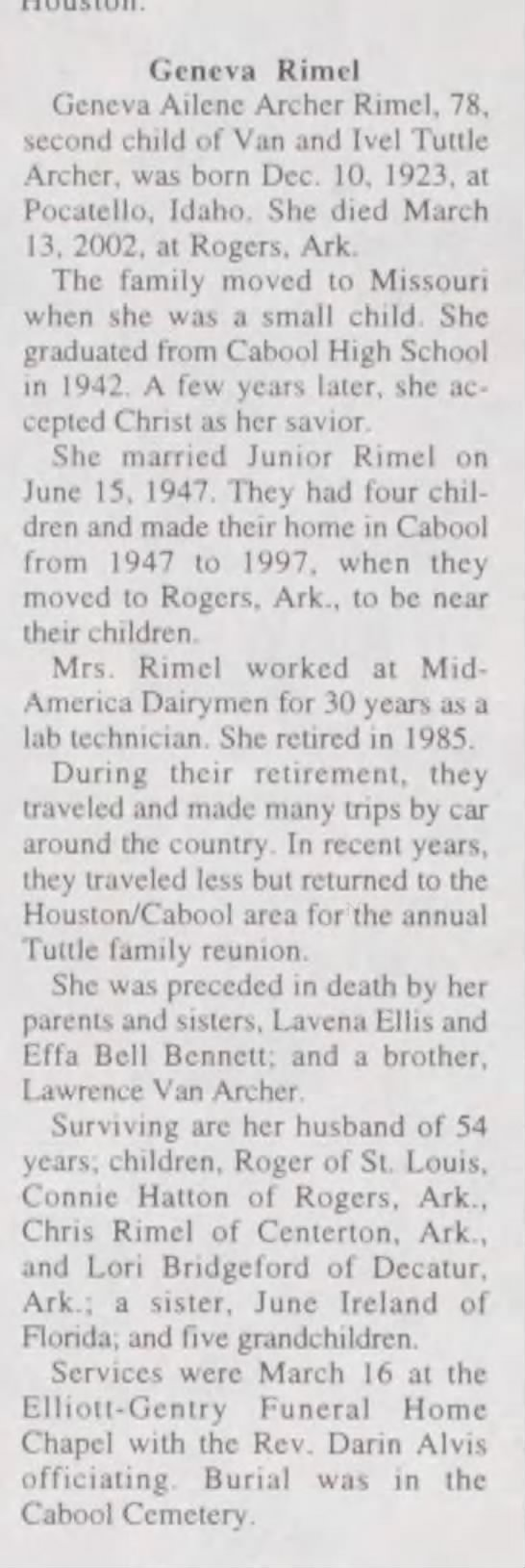 The Houston (Mo.) Herald, 21 Mar 2002 - Geneva Rimel Geneva Ailcne Archer Rimel, 78,...