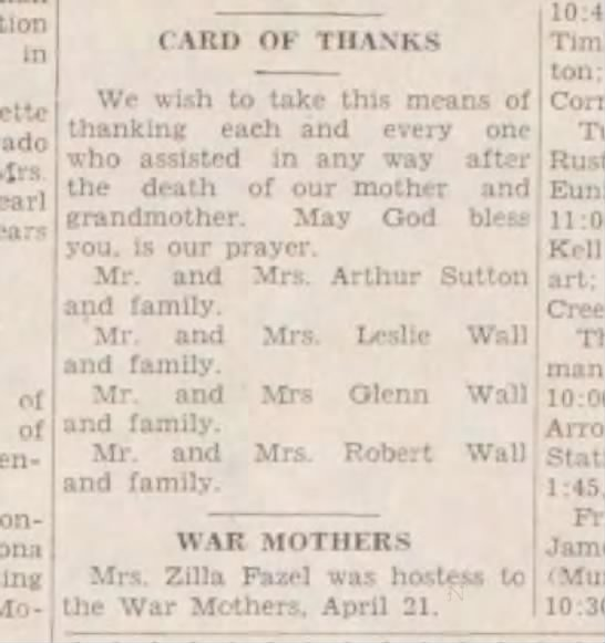 Glenn and family Arthur Sutton and family - m Mrs CARD OF THANKS We wish to take this me)...