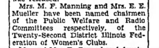 Mrs M F Manning - Mrs. M. F. Manning and Mrs. E. E. Mueller have...