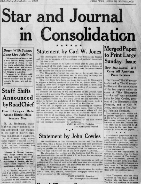 Star and Journal papers combine - Trice Two Cents in. Minneapolis Star Journal m...