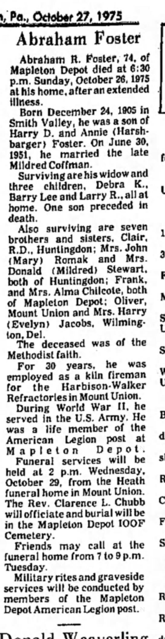 Abraham Foster obit-TDN-p.2-27 Oct 1975 - Pa., October 27, WtS Abraham Foster Abraham R....