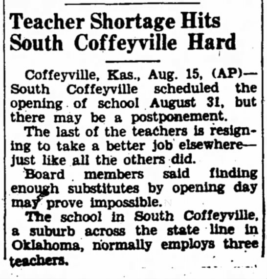 Teacher Shortage Due to Better Jobs Elsewhere - Teacher Shortage Hits South Coffeyville Hard...