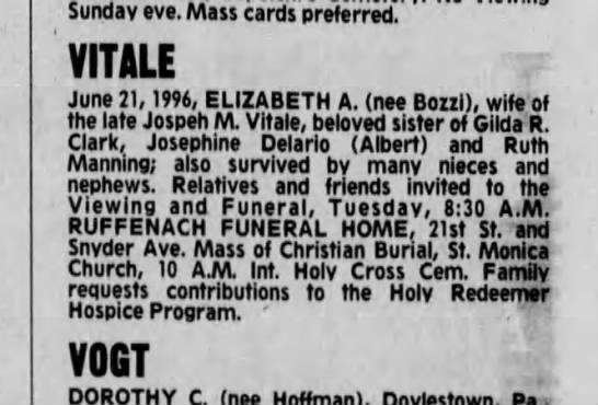 Bettie Vitale Death Notice - Sunday eve. Mass cards preferred. VITALE June...