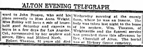Death of Robert Thaxton, Alton Evening Telegraph 9-17-26 - ALTON EVENING ward to John Brot^n, who sold hi*...