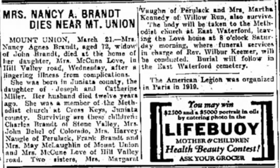 Nancy Brandt Love - MRS. NANCY A. BRANDT 1 DIES NEAR MT. UN ION...