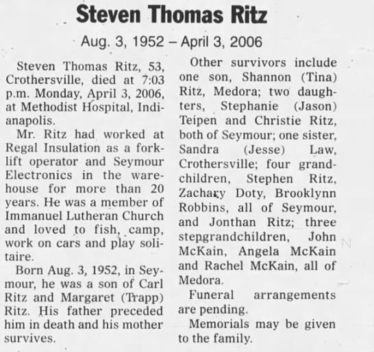 Ritz Steven Thomas 5 Apr 2006 - Steven Thomas Ritz Aug. 3, 1952 Steven Thomas...