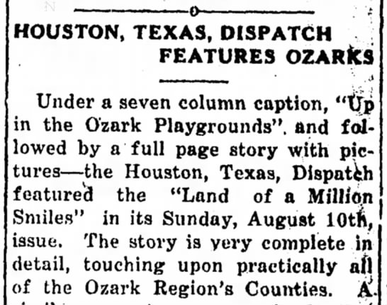 - HOUSTON, TEXAS, DISPATCH FEATURES OZARfcS Under...