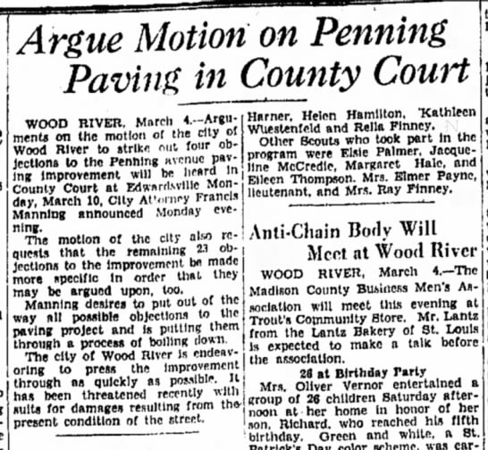 F Manning - Argue Motion on Penning Paving in County Court...