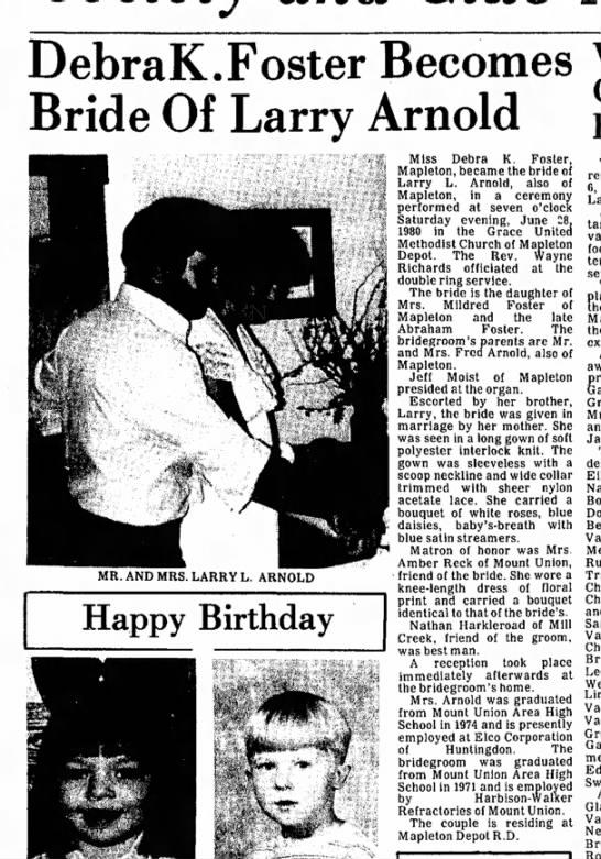 Debra K. Foster weds-TDN-p.9-28 July 1980 - DebraK.Foster Becomes Bride Of Larry Arnold MR....