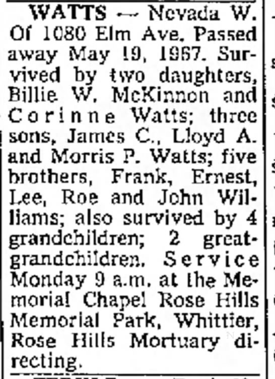 Nevada Watts Obituary - to Deed of the AT HIGHEST of the of Trust WATTS...