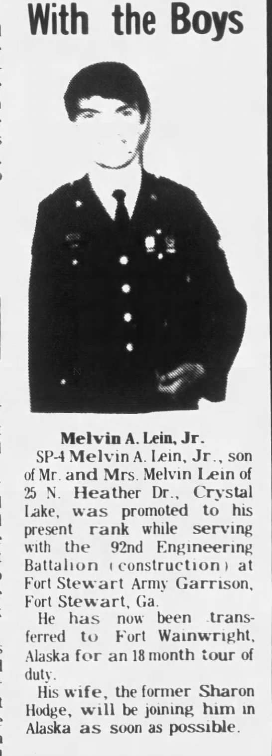 Melvin Lein Jr Military Advancement - With the Boys Melvin A. Lein, Jr. SP-4 SP-4...