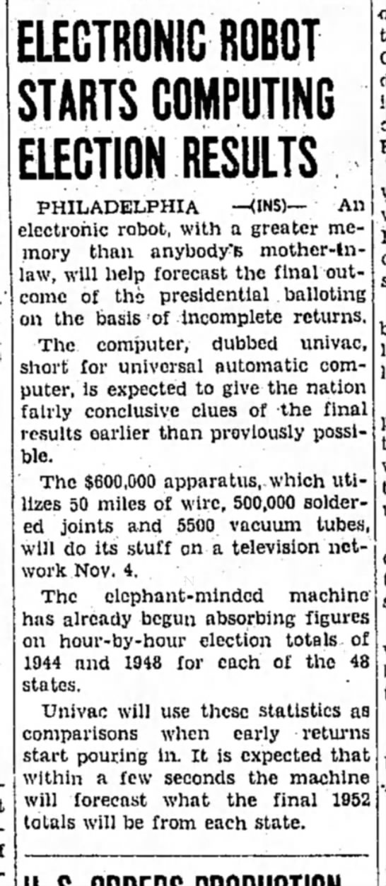 UNIVAC predicts election results in 1952 - ELECTRONIC ROBOT STARTS COMPUTING ELECTION...
