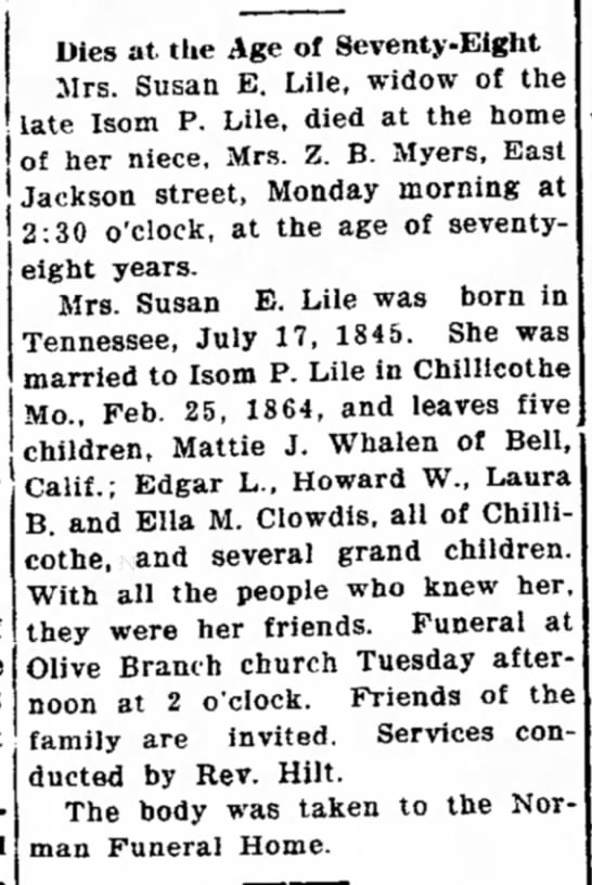 Susan E. Lile, widow of Isom P. Lile