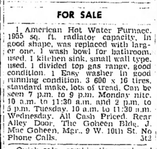 the goheen building article dated 5 may 1962 - FOR SALE 1 American Hot Water Furnace. 105s sq....