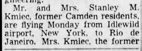 Stanley Kmiec  3 Mar 1951 page 1 - Mr. and Mrs. Stanley M. Kmiec, former Camden...