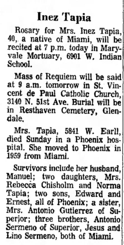 - Inez Tapia Rosary for Mrs. Inez Tapia, 40, a...