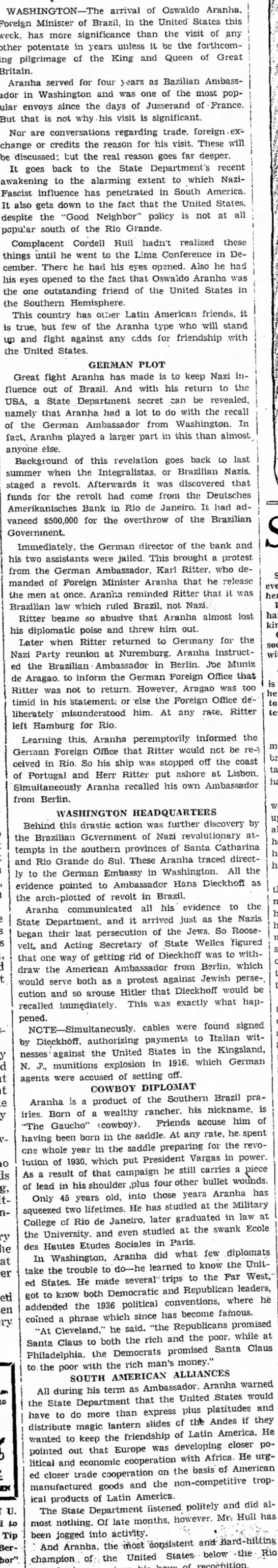 Aranha - 1 - WASHINGTON—The arrival of Oswaldo Aranha,...