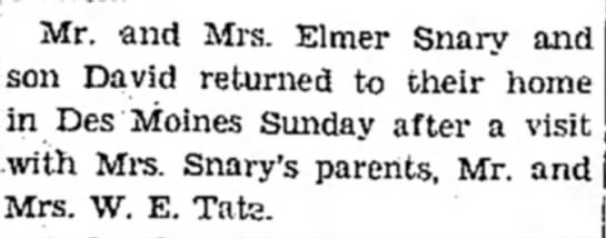 Chillicothe Constitution-Tribune, 11 Aug 1932, Page 14 - Mr. and Mrs. Elmer Snary and David returned to...