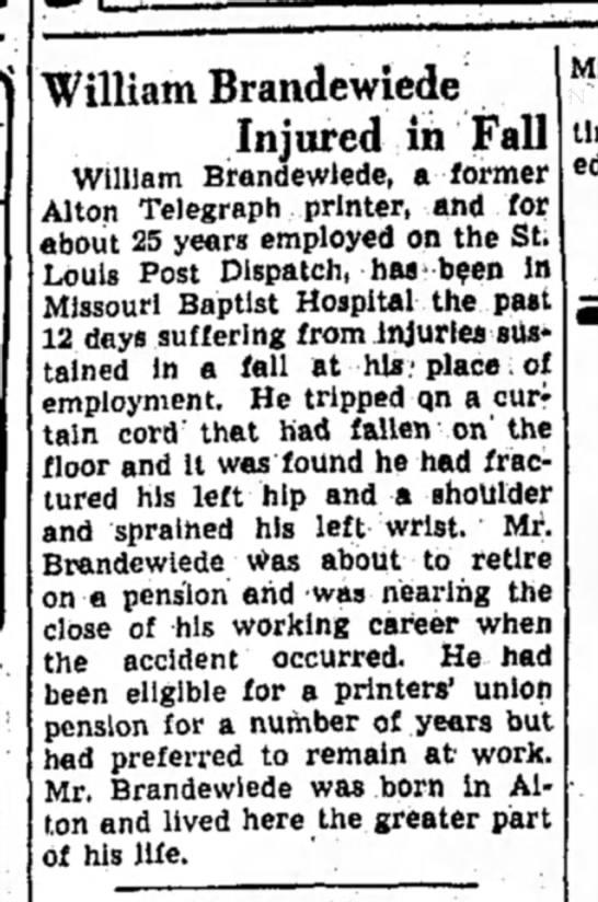 William Brandewiede injured in fall November 25 1946 - William Brandewiede Injured in Fall William...