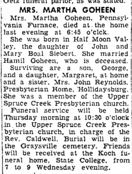 mrs martha goheen dies article dated 13 dec 1955 - Getz funeral P arlor - as was stated changed...