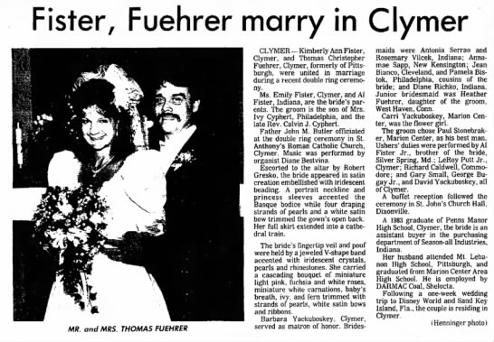 Fister-Fuehrer Marry in Clymer - Fister, Fuehrer marry in Clymer MR. and MRS....