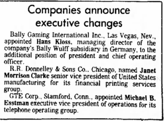 Indiana Gazette [PA] 17 Sept 1986 - Companies announce executive changes Bally...