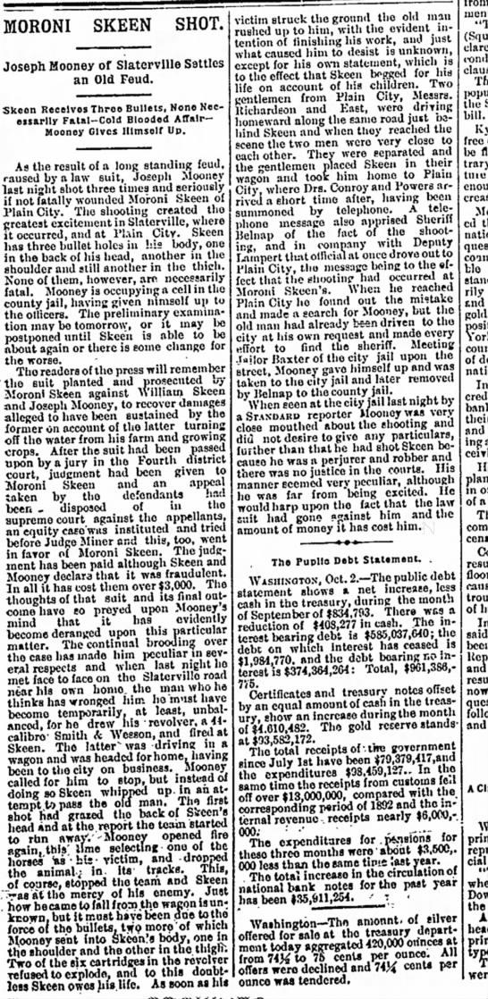 Moroni Skeen shot October 3, 1893 - MORONI SKEEN SHOT. Joseph Mooney of Slatervllle...