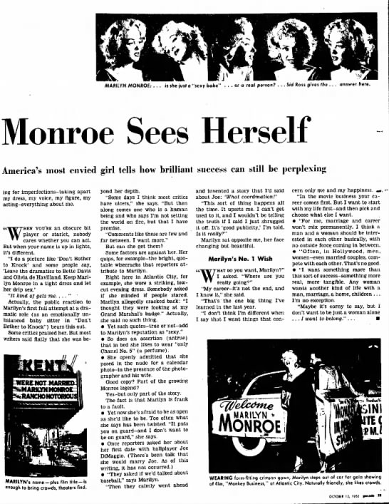 "Marilyn Monroe Interview - MARILYN MONROE: . . . is she jvsf a ""sexy babe""..."