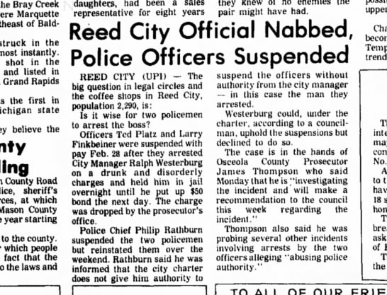 Plats & Finkbinder Arrest Westburg LUDINGTON DAILY NEWS MARCH 18, 1975 - the Bray Creek Pere Marquette of Baldwin....