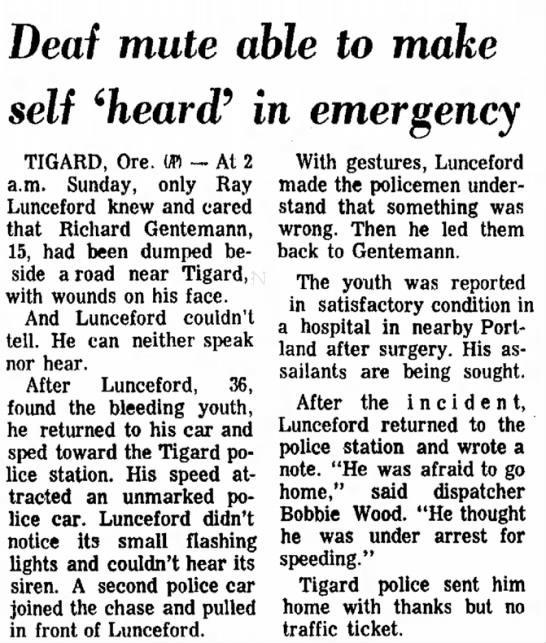 Artie's son (?) injured and left in ditch