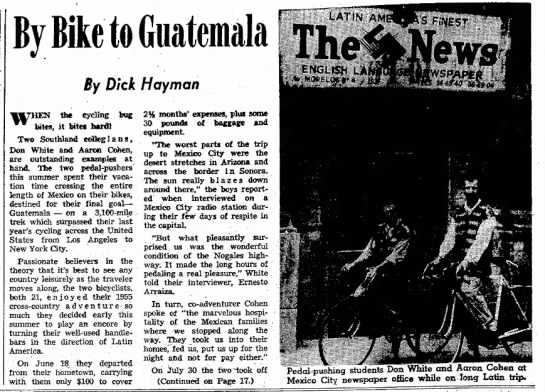 White and Cohen, Press-Telegram Long Beach, 24 Feb 1957,, p 19 - By Bike to By Dick Hay man the cycling bug...