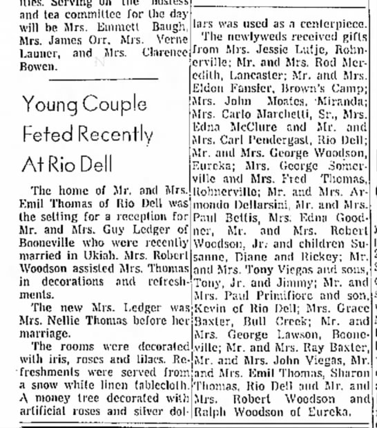 Ledger Thomas wedding party 1959d - and tea committee for (he day will be Mrs....