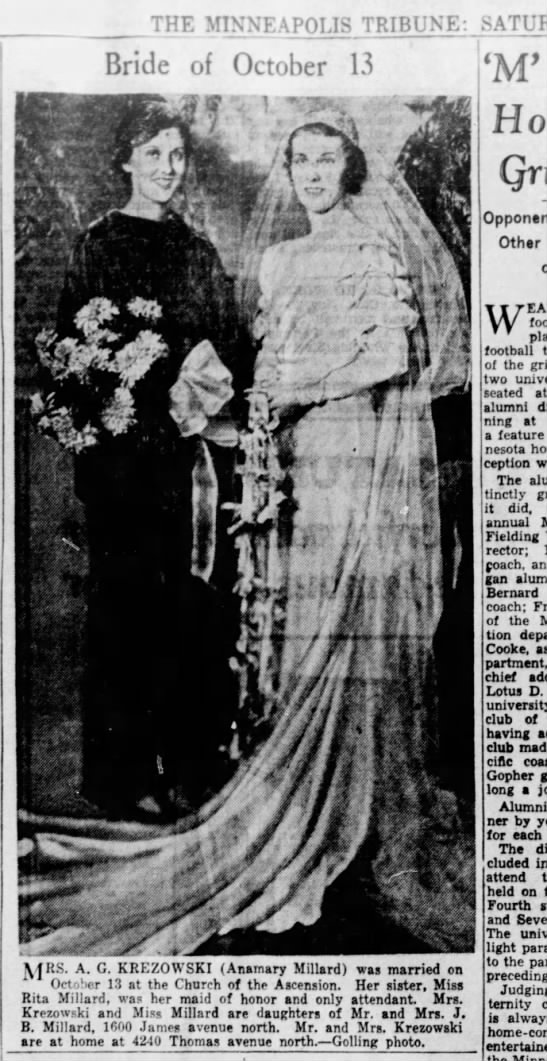 Wedding Picture with Sister - THE MINNEAPOLIS TRIBUNE: Bride of October 13...
