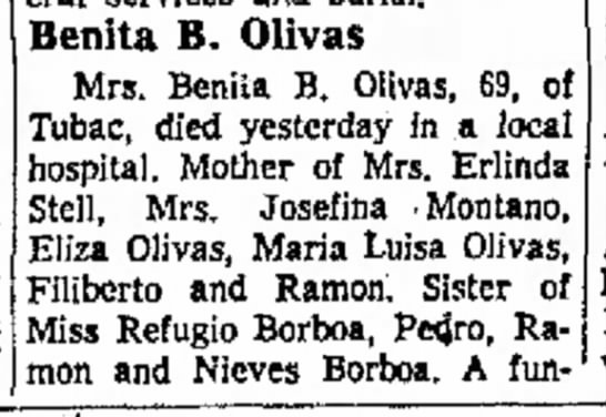 - today) Ave Ca Benita B. Olivas Mrs. Benita B....