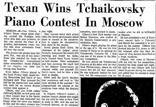 Texan Wins Tchaikovsky Piano Contest in Moscow - Texan Wins Tchaikovsky Piano Contest In Moscow...