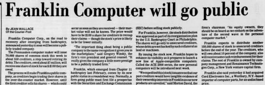 Renaissance_1985 - Franklin Computer will. go By JEAN WALLACE Of...