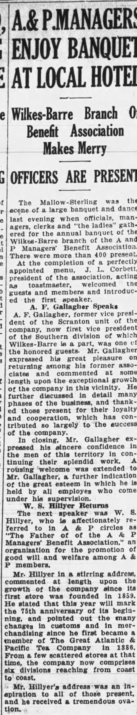 The Evening News (Wilkes-Barre, Pennsylvania) 10 May 1934, Thu Page 12 - AiPIANAGERS ENJOY BANQUET AT LOCAL HOTEL...