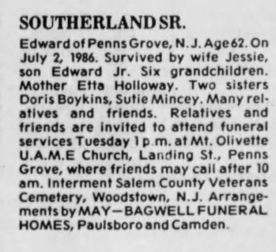 - SOUTHERLANDSR. Edward of Penns Grove, N.J. Age...