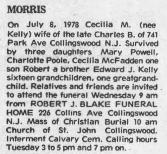 Obit for Cecilia M. Morris - MORRIS On July 8, 1978 Cecilia M. (nee Kelly)...