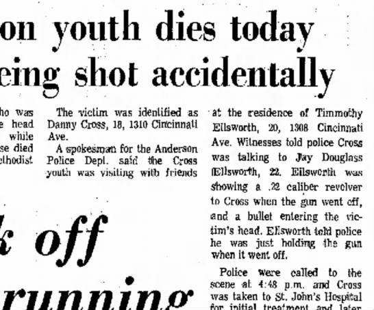 cross - youth dies today being shot accidentally who...